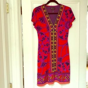 Hale Bob Dress with V-neck and cap sleeves